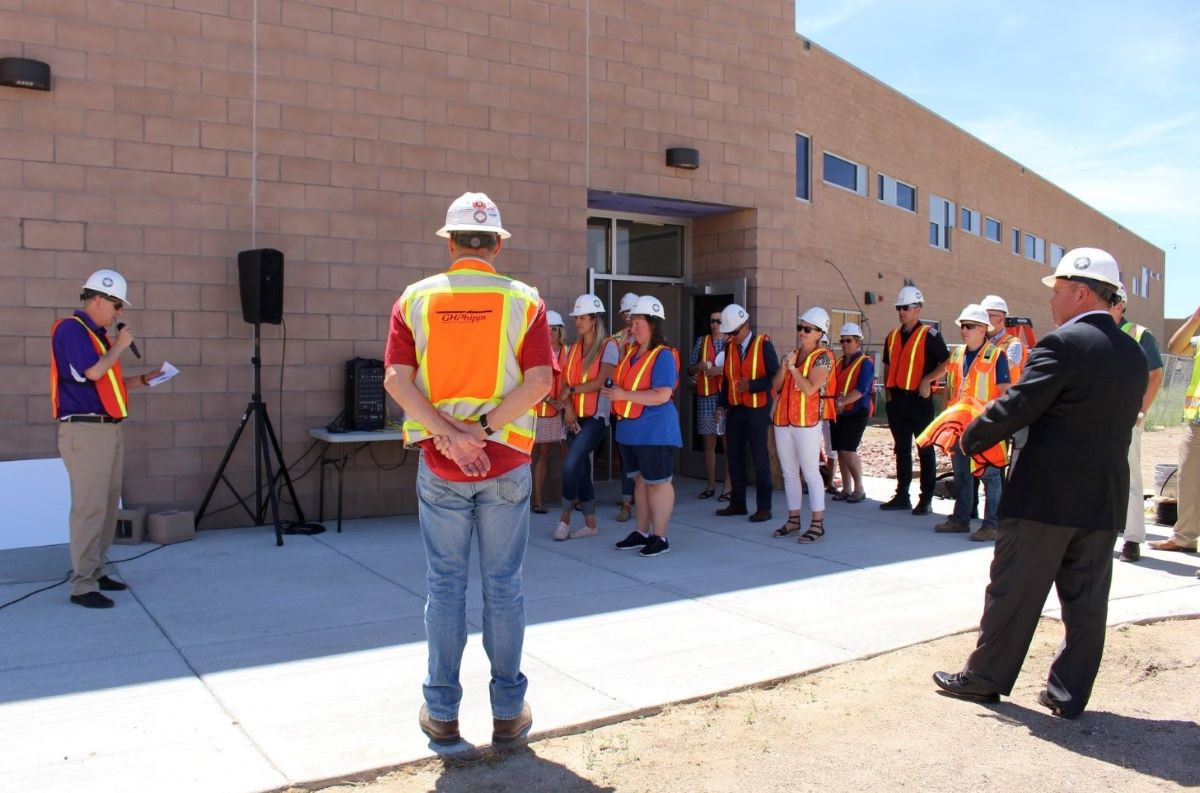 G.H Phipps staff review safety rule at a job site