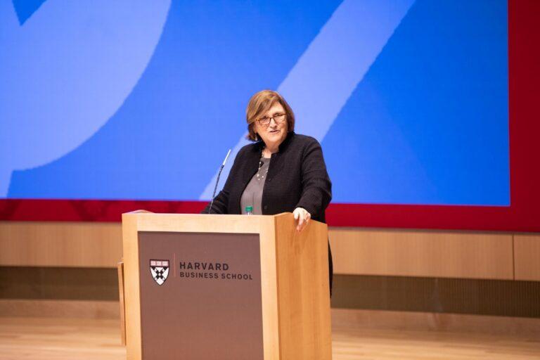 Harvard Business School faculty speak in graduation ceremony