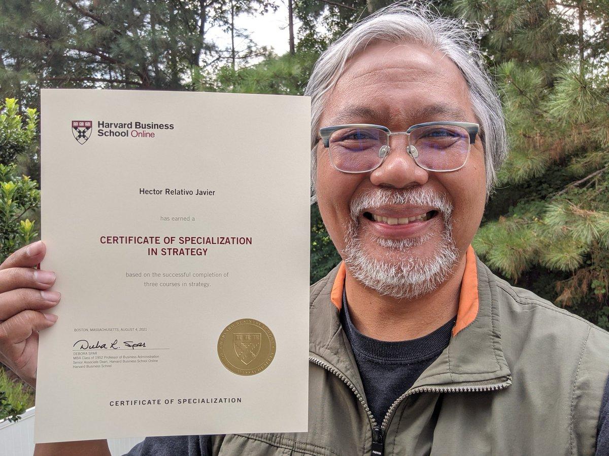 student achieved certification via Harvard Business School online