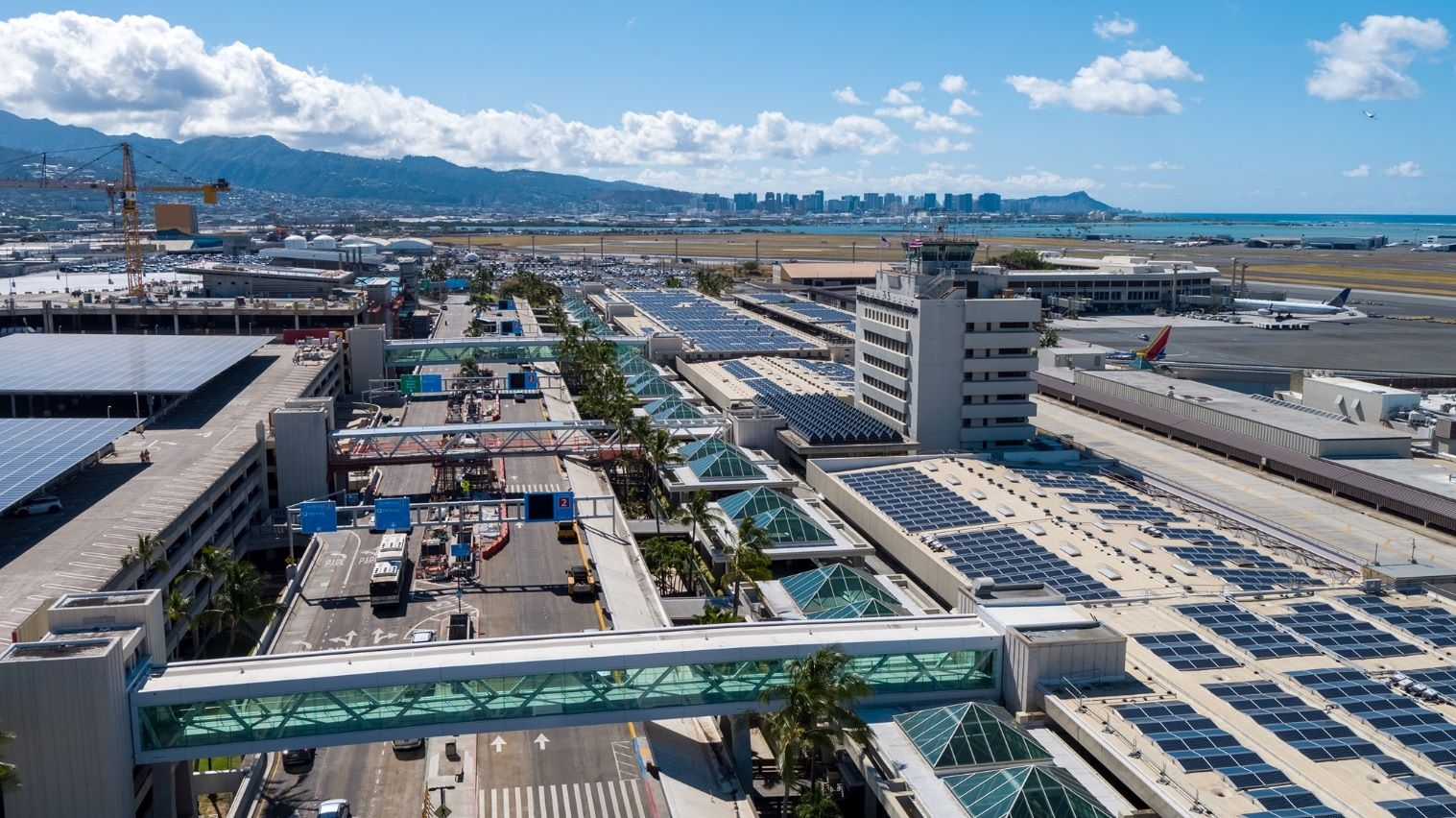 Hawaii airport and downtown view