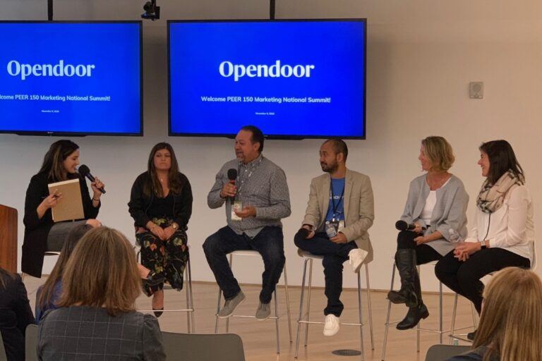 Opendoor staff collaborate with tech professionals at a meetup event