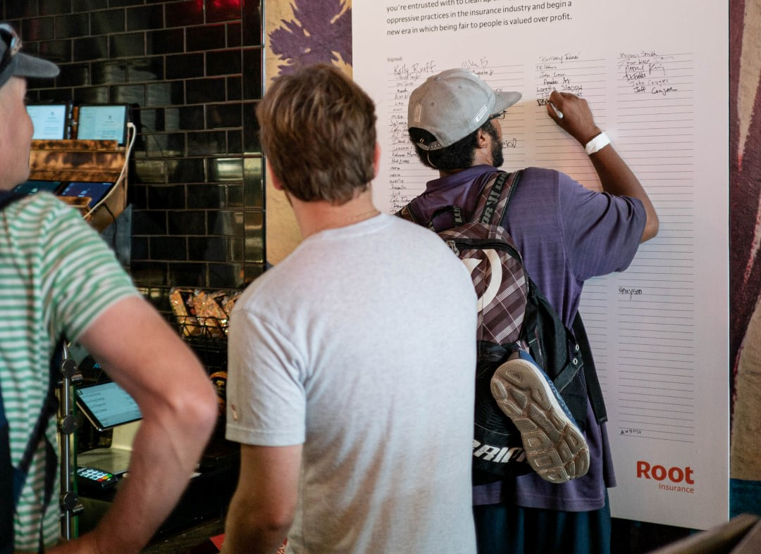 Root staff collaborate with users at a local restaurants