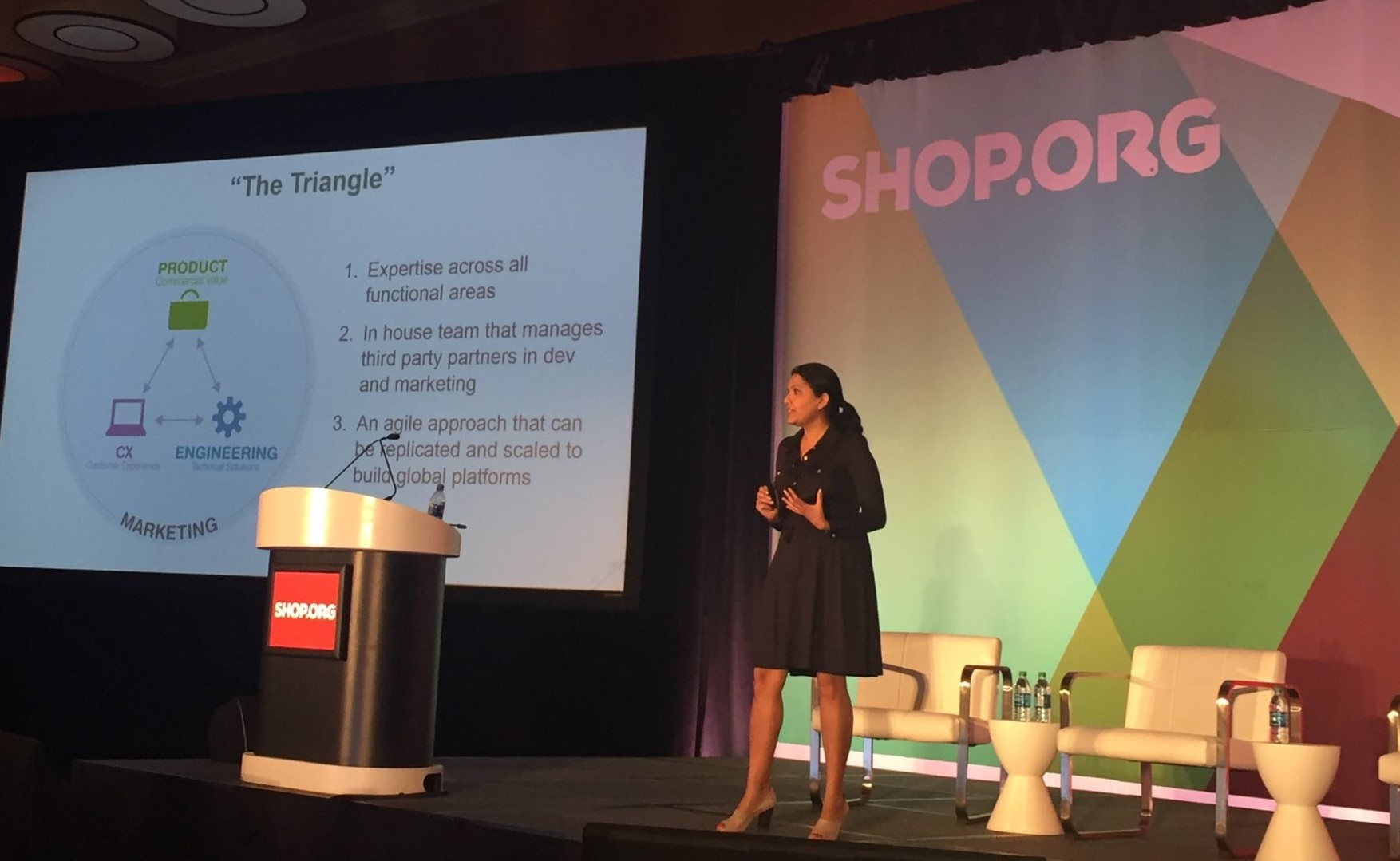 Walgreens Chief digital product present in a conference