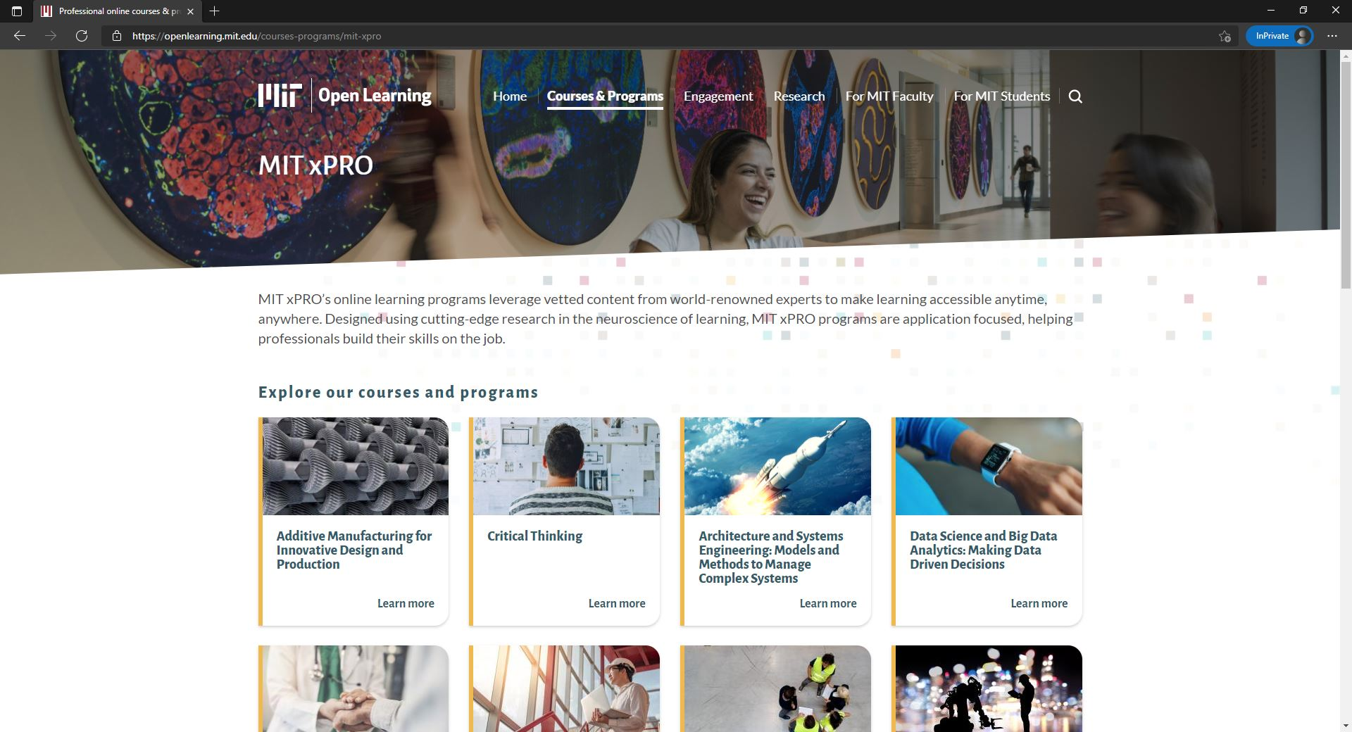 MIT Open Learning main website and course listing