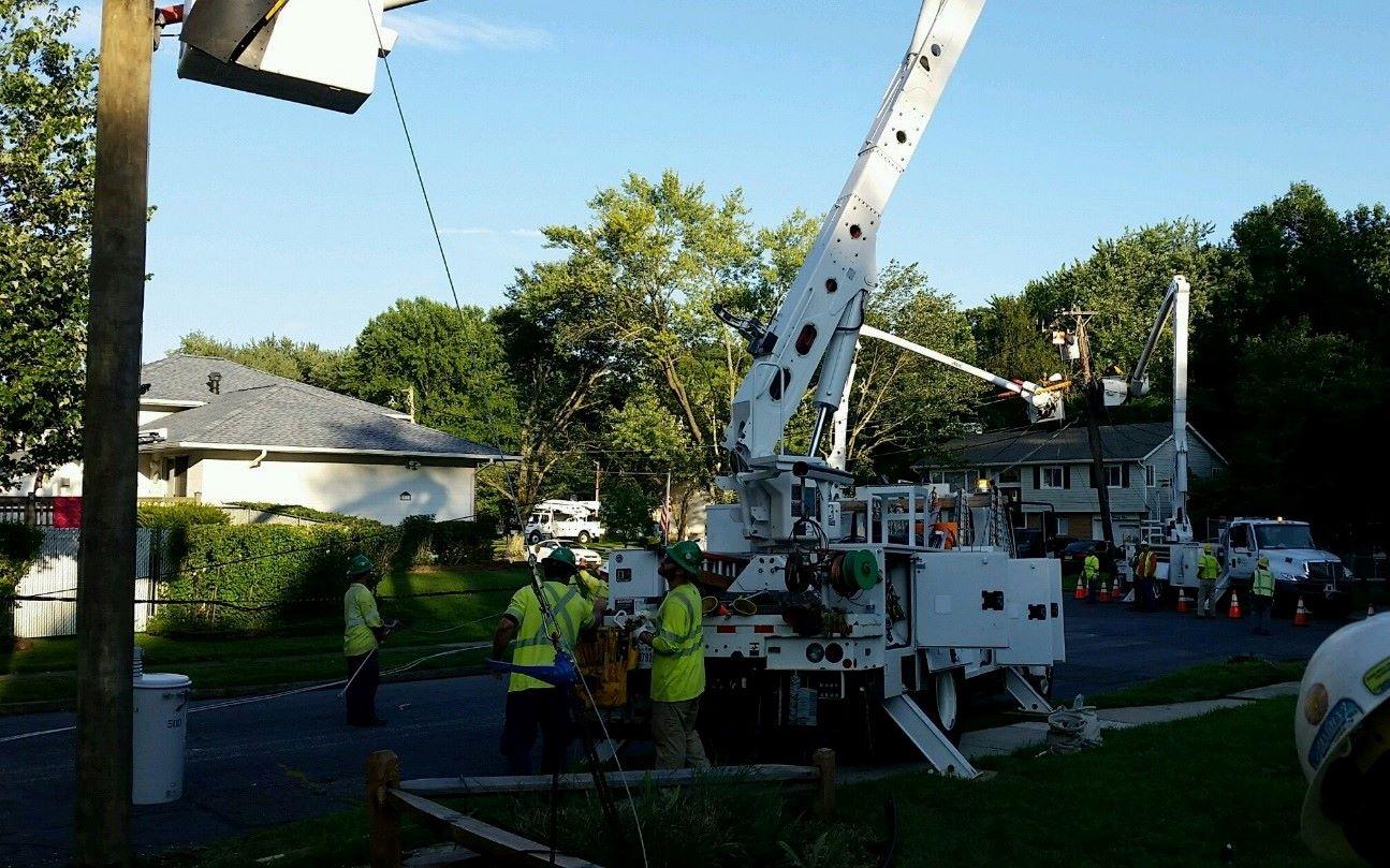 Sargent Electric frontline staff assemble transmission line