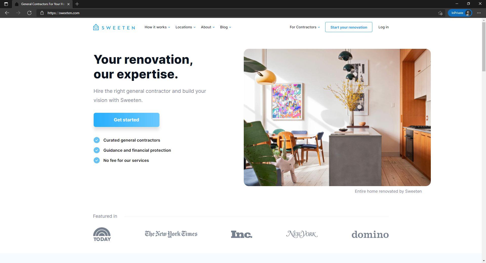Sweeten website homepage